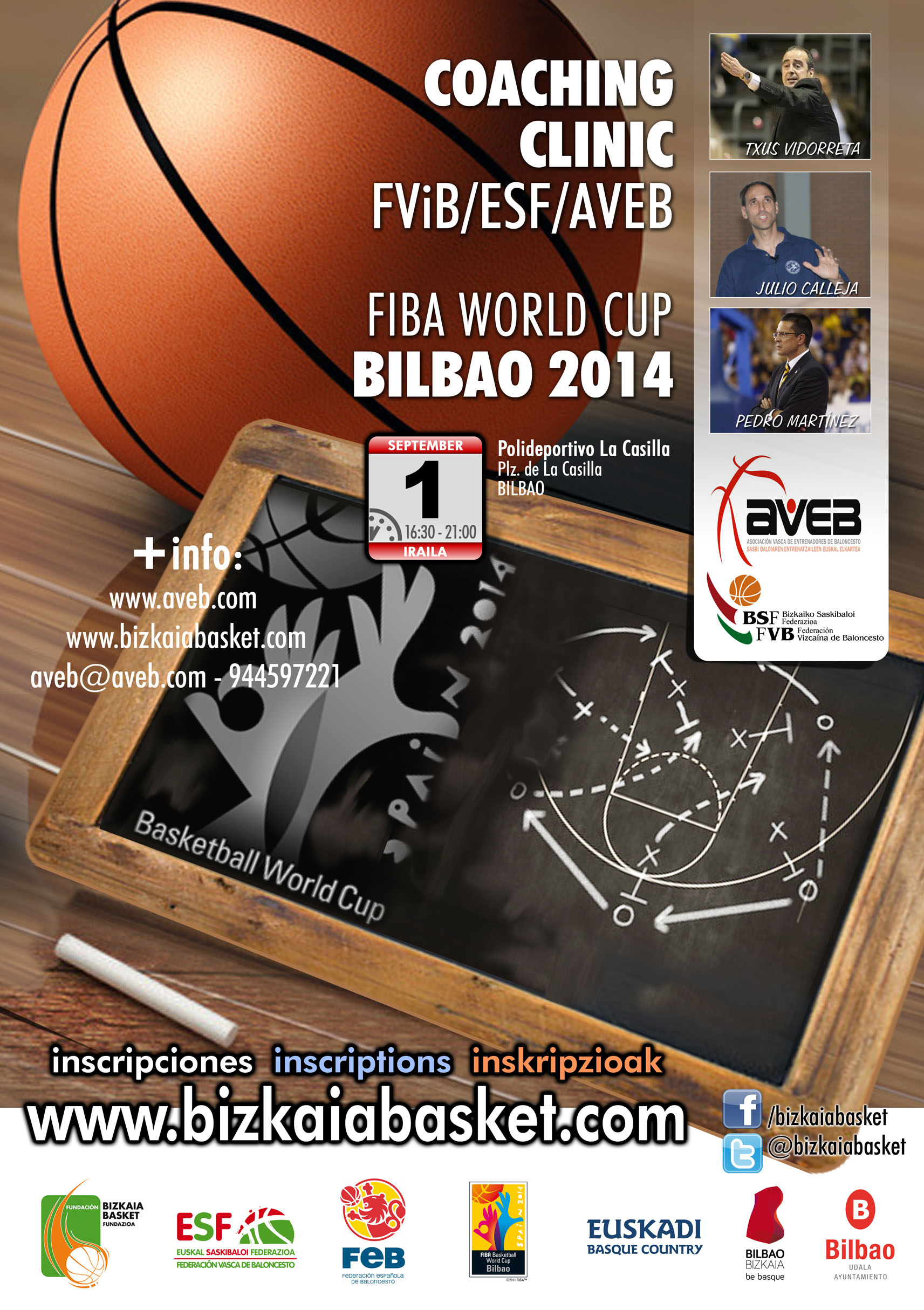 Coaching Clinic FIBA World Cup Bilbao 2014 organizado por FViB/ESF/AVEB y colaboración de la Fundación
