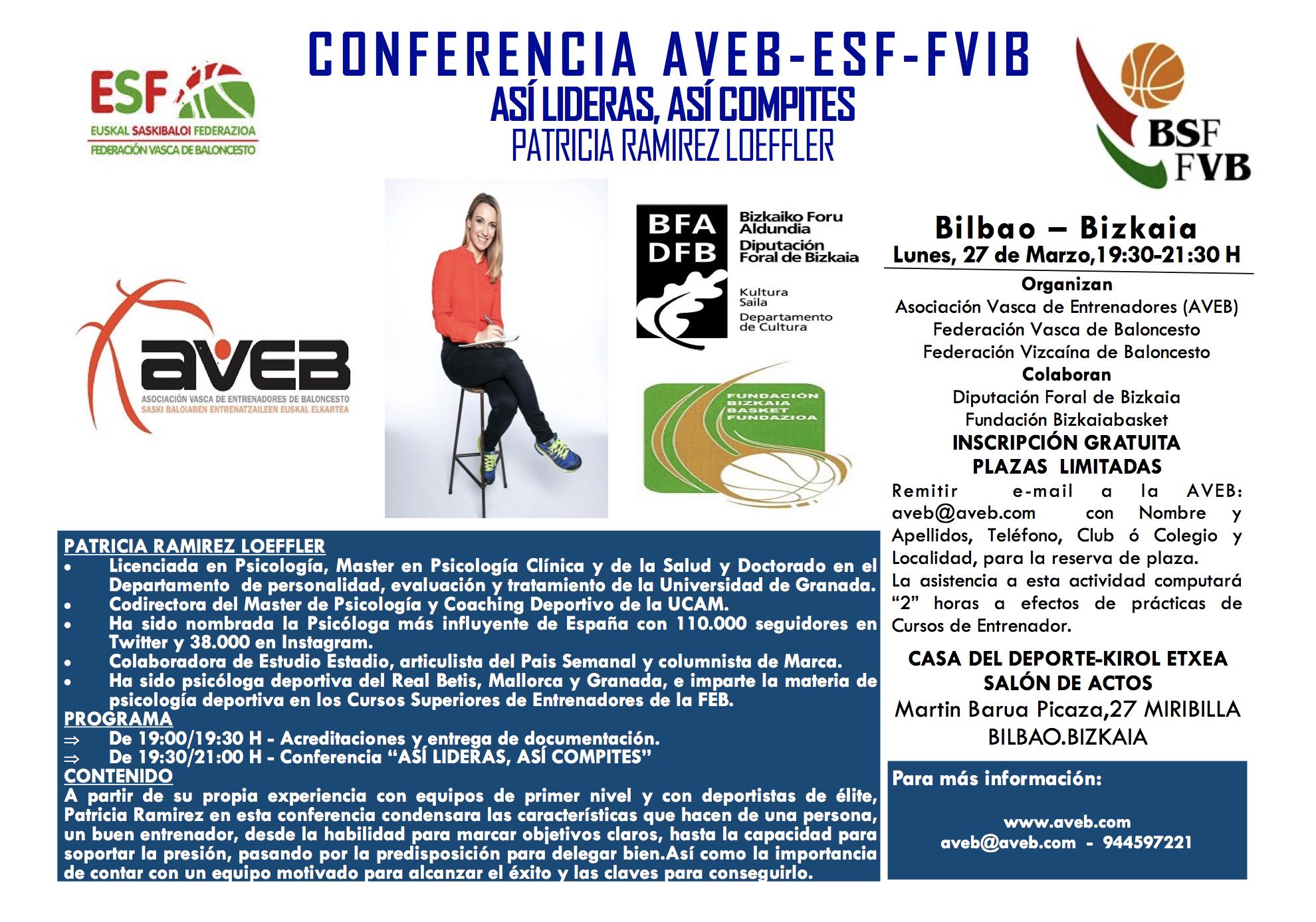 CONFERENCIA: 'Así lideras, así compites', con Patricia Ramírez, organizada por AVEB